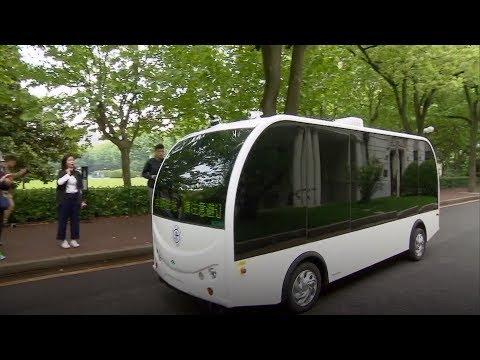 Self-driving minibus begins trial run on university campus in Shanghai