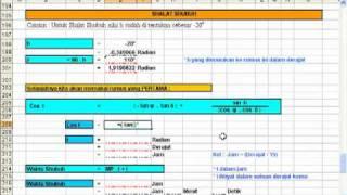Ilmu Falak, Menghitung Waktu Shalat dengan Excel (Shalat Shubuh Rumus 1)