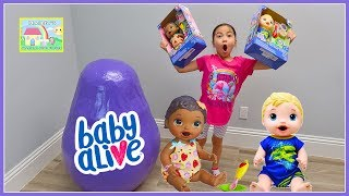 Giant Baby Alive Egg Surprise Toys Opening with Finger Paint Baby Doll Inside! Playing with Dolls