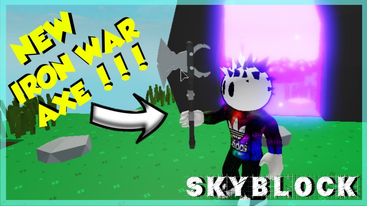 Crystalized Iron And Iron War Axe Skyblock Roblox Youtube