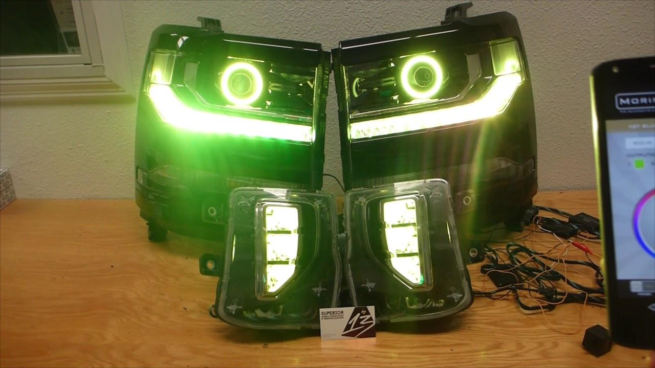 2017 Chevy Silverado Z71 Custom RGB Headlights + Foglights ...