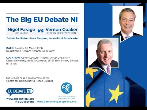Nigel Farage & Vernon Coaker - Northern Ireland EU Debate @ Ulster University 01.03.16