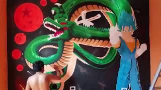 INCREÍBLE  MURAL DE DRAGON BALL Z |HOW TO DRAW SHENLONG
