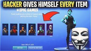 HACKER Gave Himself EVERY Item in Fortnite... (RECON EXPERT and 1,800 ITEMS)