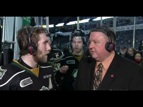 Mitch Marner and Christian Dvorak interrupt Aaron Berisha interview for popcorn