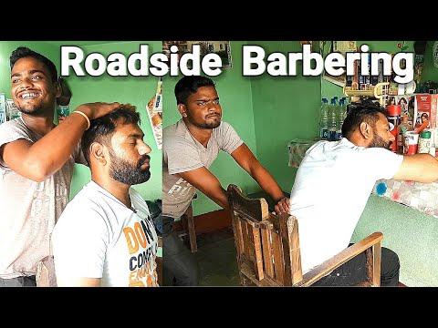 Roadside head massage with neck cracking by Indian barber ASMR