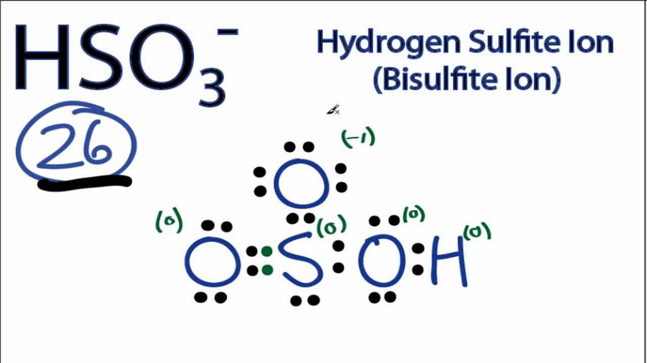 hso3 lewis structure how to draw the lewis structure for the bisulfite ion youtube [ 1280 x 720 Pixel ]