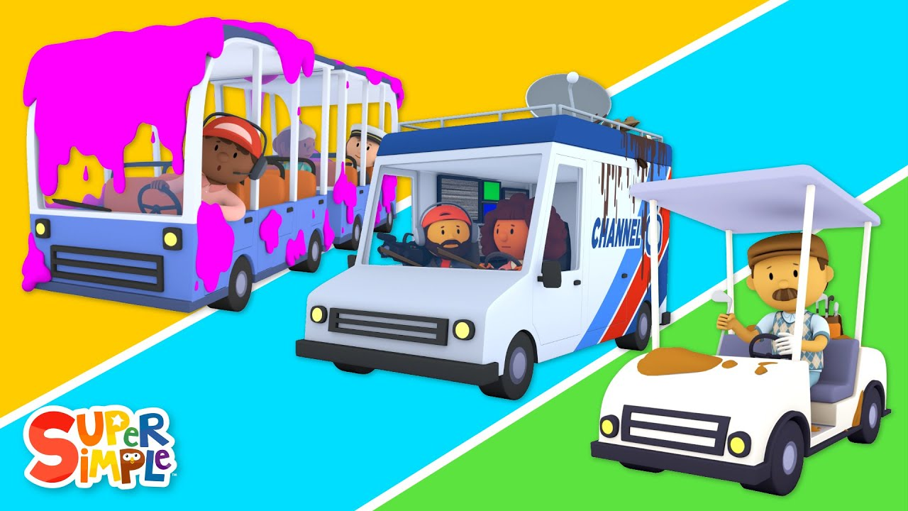 Fire Truck, Train, Golf Cart, and Space Shuttle go to Carl's Car Wash! | Cartoons for Kids
