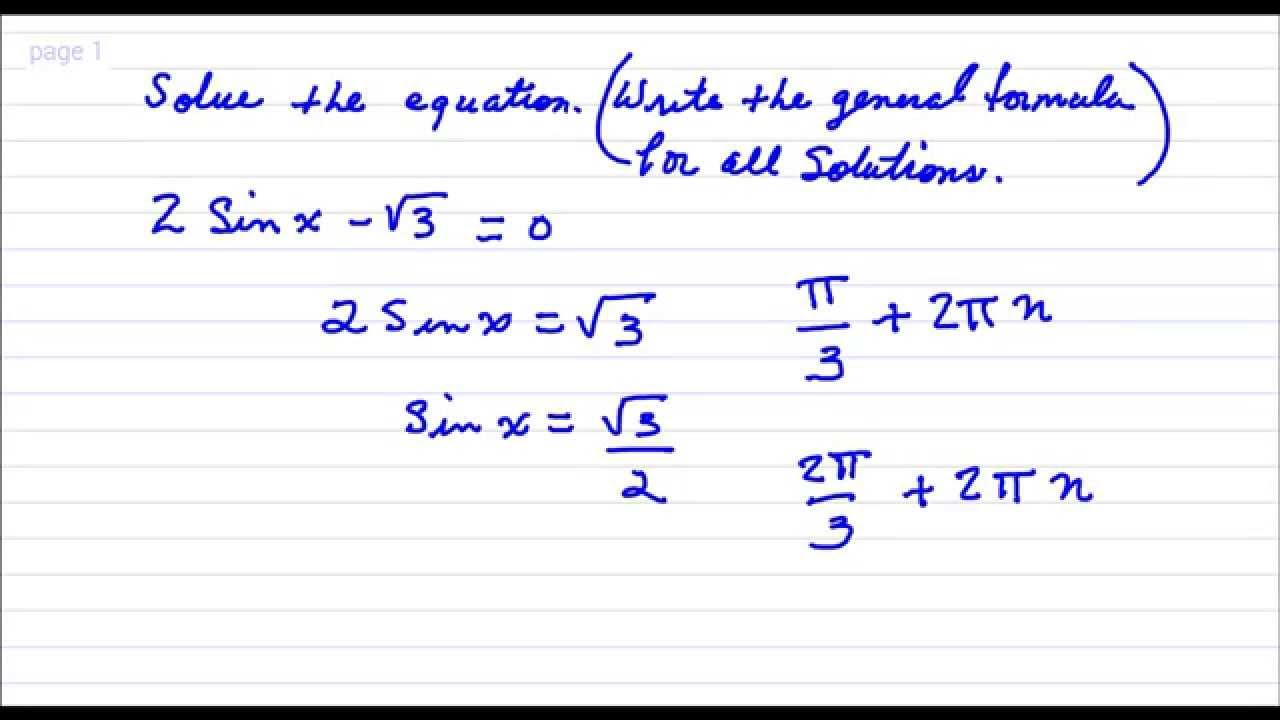 Solve the Trigonometric Equation General Solution Practice Quiz 3 ...