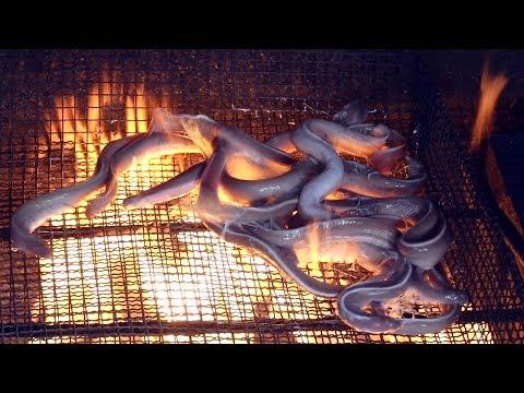Hagfish (eel) Straw Fire Roast - Amazing Korean Food / Busan, Korea