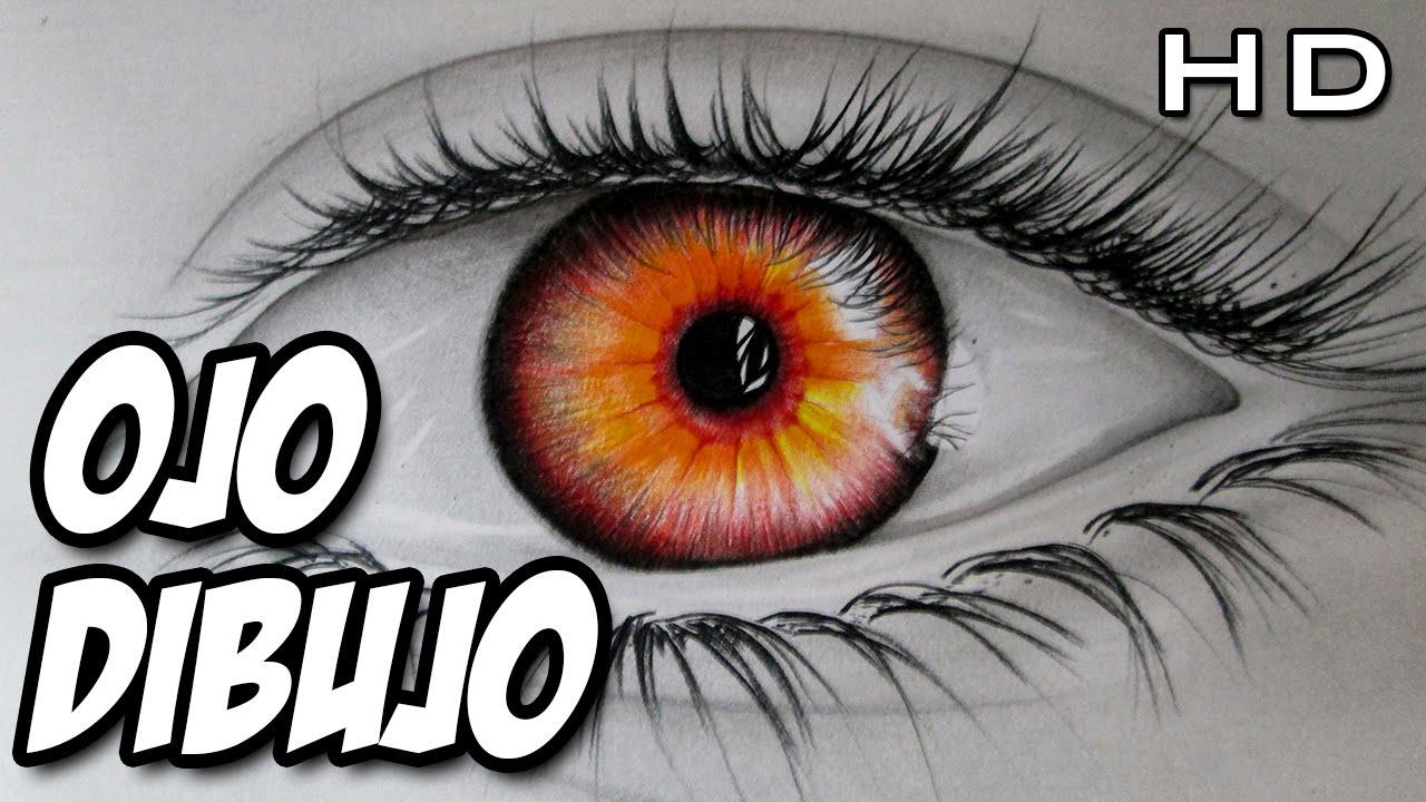 Dibujo De Un Lapiz De Color: Dibujo De Un Ojo De Fuego, Dibujo De Un Ojo Realista Con