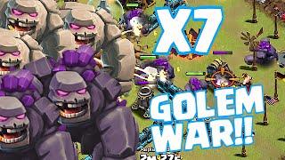 Clash Of Clans - X7 GOLEMS PERK PUSHING!! (EPIC WAR GAMEPLAY!)