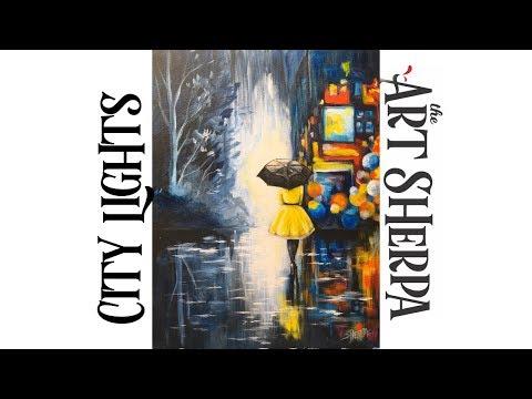 City Lights at night  umbrella girl Acrylic painting on canvas beginner Tutorial