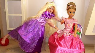 Masha princess Rapunzel and Doll play with colored balloons