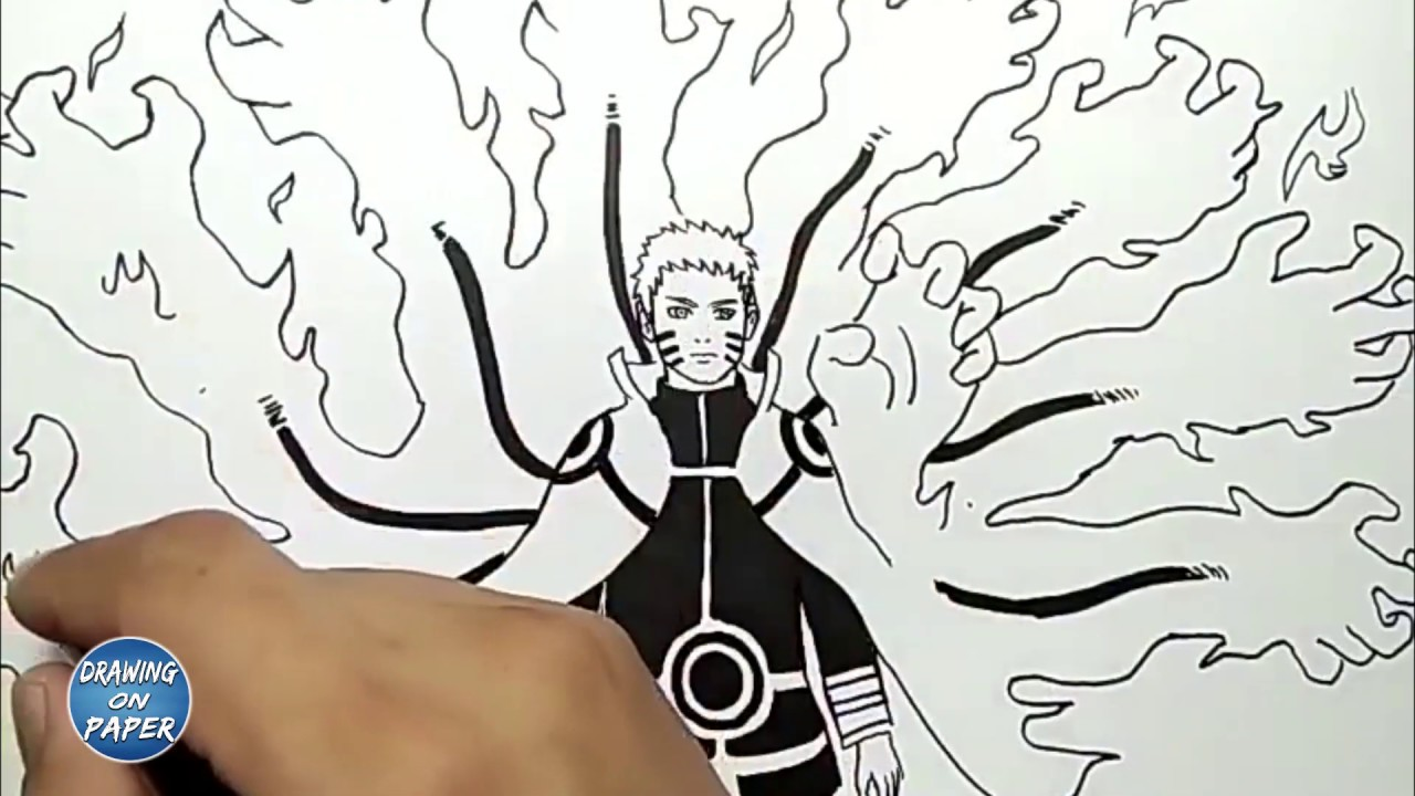 How to draw naruto kyuubi mode drawing doodle art for kids