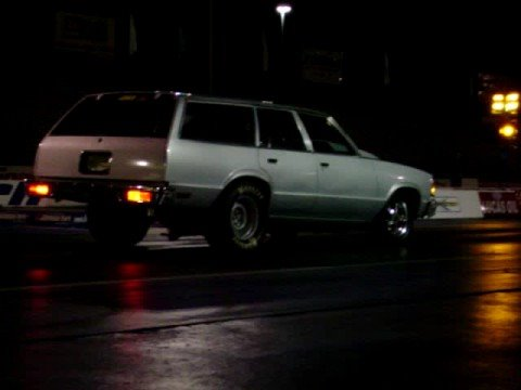 80 Malibu Wagon drag race Saleen Mustang