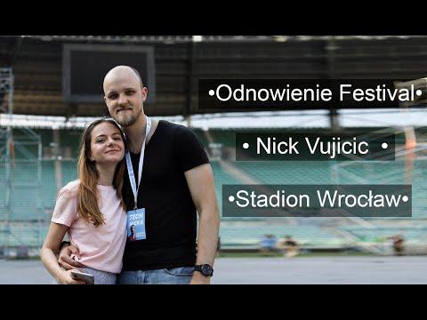 Стадион во Вроцлаве. Ночной город. Фестиваль ODNOWIENIE 2019. Nick Vujicic - Wrocław.  WDJ.
