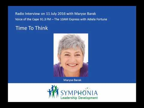 Voice of the Cape Radio Interview 11 July 2016: Maryse Barak: Time To Think