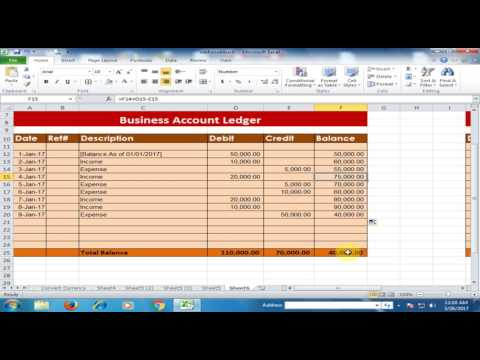 How To Create A Business Accounts Ledger In Microsoft Excel : Debit Credit Balance