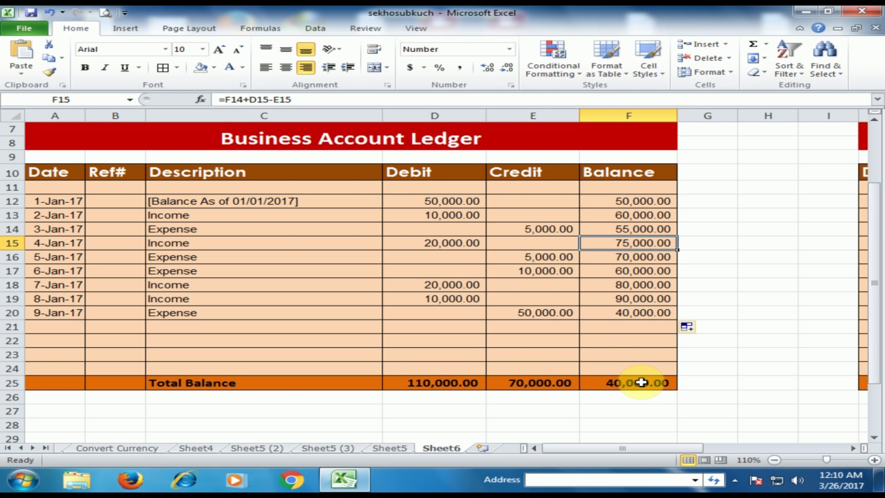 how to create a business accounts ledger in microsoft excel debit