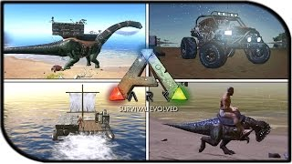 DUNE BUGGY, BRONTO BASE BUILDING, PACHY, WATER RAFT BUILDING! (ARK PATCH/UPDATE 207 GAMEPLAY)