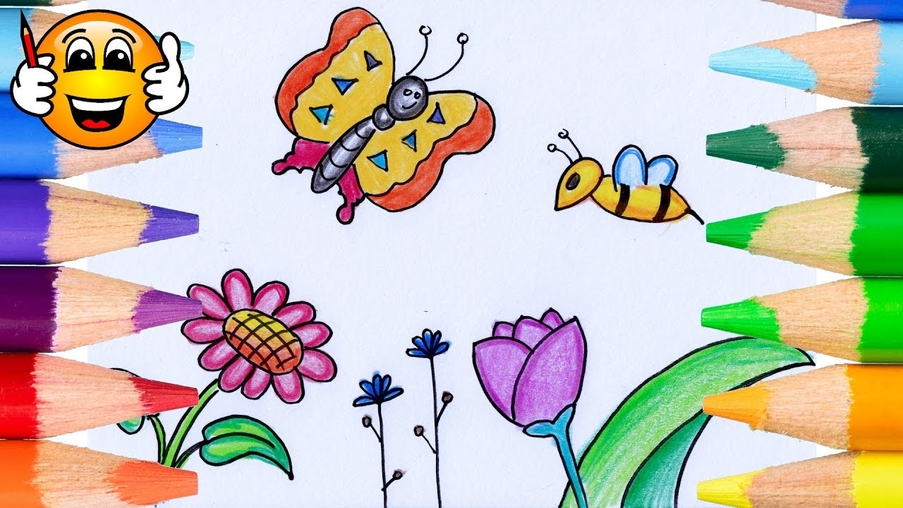 Bee and butterfly coloring pages - Coloring Pages For Kids Flowers Butterfly Bee Coloring For Kids Bibabibo