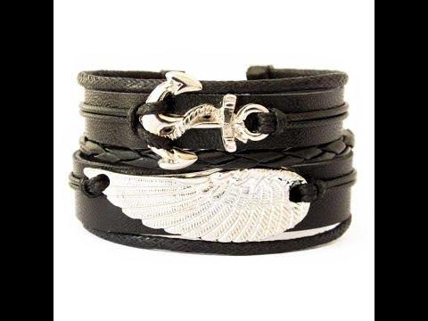 Bracelete de Couro Âncora e Asa Preto Ref 44