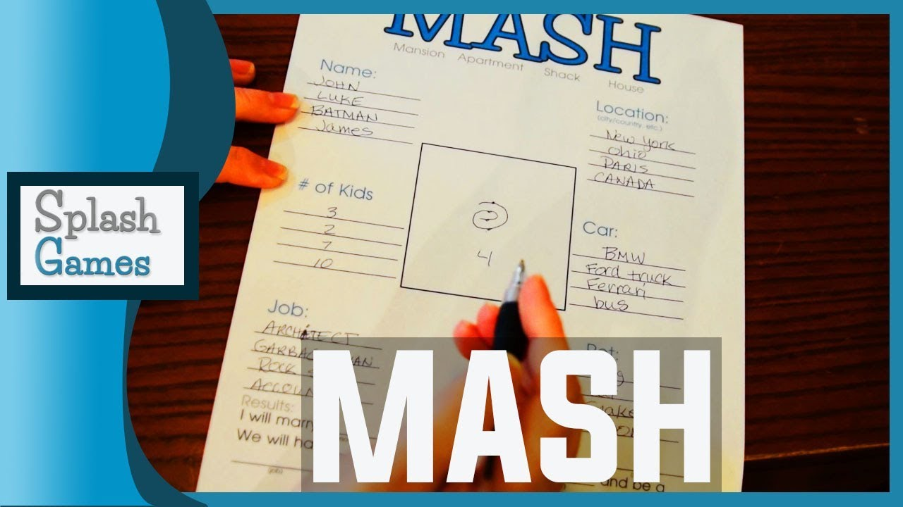 picture regarding Mash Game Printable known as M.A.S.H. Activity