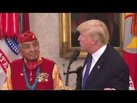 Trump calls Elizabeth Warren 'Pocahontas' at Navajo code talkers event