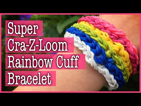 How to make a Super Cra-Z-Loom Rainbow Cuff Bracelet: Loom T