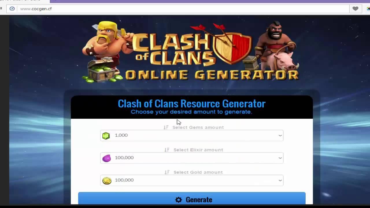 Coc Generator Get 9 999 999 Clash Of Clasn Gems Gold Elixir Clash 10000 Generator Free Youtube