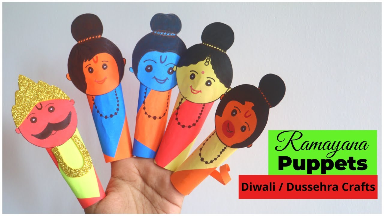 Ramayana Puppets | Diwali / Dussehra Crafts for Kids | Ramayana Characters