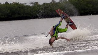I Tried to Backflip on a Wakeboard! (GONE WRONG!)