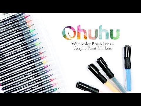 Ohuhu Watercolor Brush Pen + Acrylic Paint Marker Review