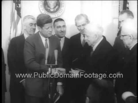JFK honors writer Robert Frost for his 88th birthday at the White House newsreel