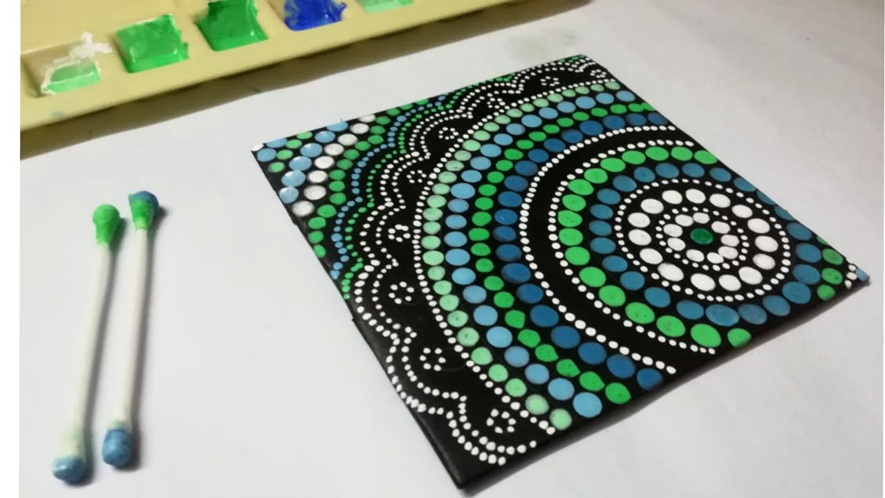 Easy Mandala Dot Painting // Mandala painting Using Earbud