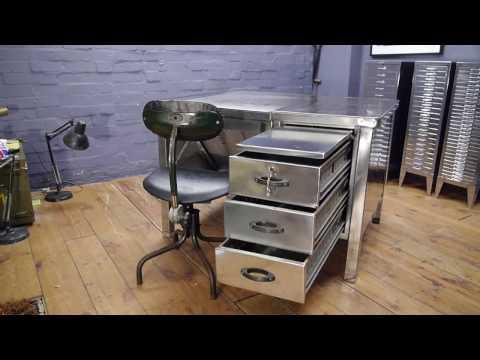 Vintage Industrial US Air Force Polished Metal Tanker Desk & Tansad Work Chair