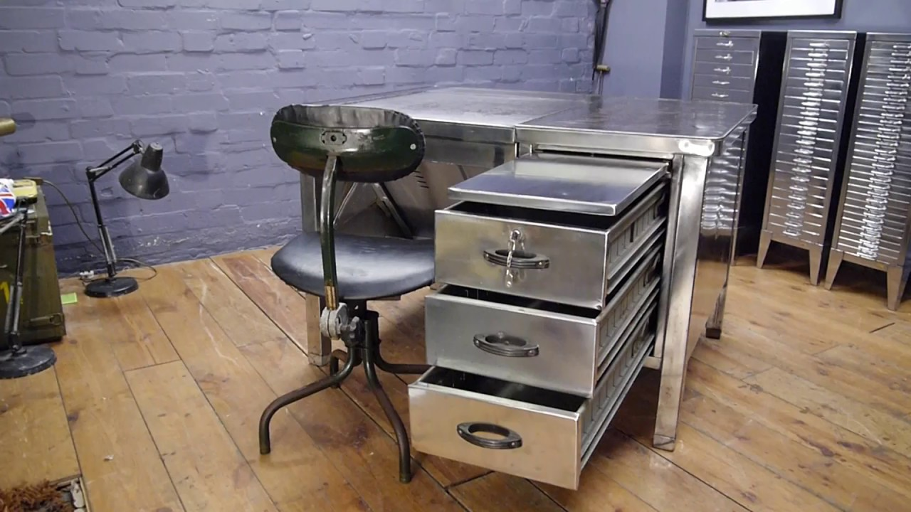 Vintage Us Air Force Polished Metal Tanker Desk Tansad Work Chair