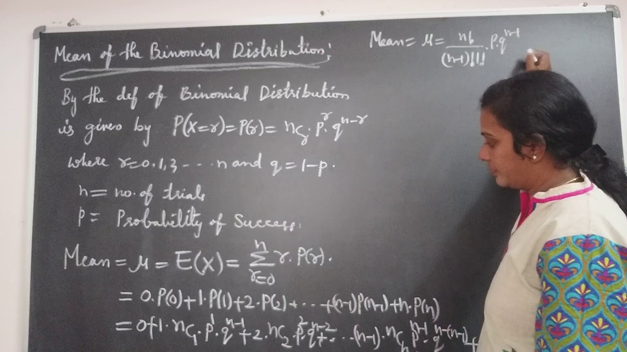 JNTU B.Tech Maths. Mean of the Binomial Distribution derivation in Probability Distribution chapte.