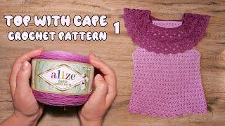 💜 Топ с пелериной крючком из  Alize Bella OMBRE Batik (часть 1) 💜 Top with Cape crochet patttern