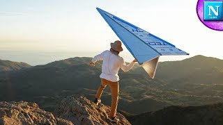 GIANT Paper Airplane off a HUGE Mountain