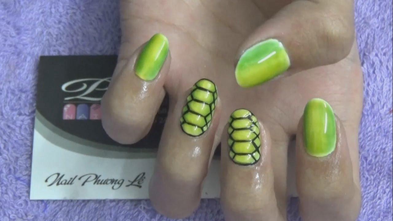 Mẫu nail mới, mẫu móng tay đơn giản mới đẹp nhất, vẽ họa tiết da rắn, vẽ gel nổi 3D lên móng