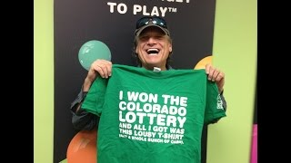 Surprise! Longmont Man Wins $253,000 Second-Chance Drawing - We Prize Surprised Lamar P. from Longmont at home with a check for a quarter-million dollars. He entered a non-winning Lucky 13 Scratch ticket on our web site, and it certainly paid off!