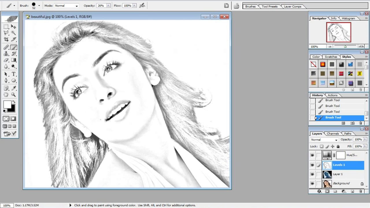 How to make pencil drawing in Photoshop Cs3 | It's easy to sketch