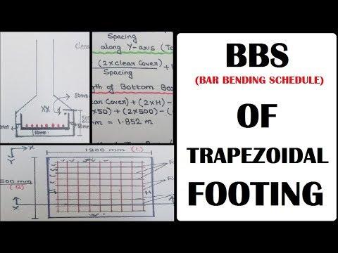 BBS (Bar Bending Schedule) - Trapezoidal Footing & Rectangular