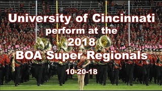 The UC Bearcat Marching Band perform at the 2018 Super Regional Cha...