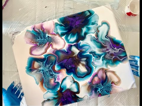 Beautiful and Colorful Bloom and Spin Fluid Art Painting/Shelee Style/Large Canvas