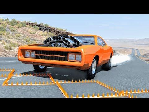 Massive Spike Strip Pileup Crashes #18 – BeamNG Drive | CrashBoomPunk