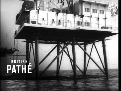 Building Pirate Television Station Off Dutch Coast  (1964)