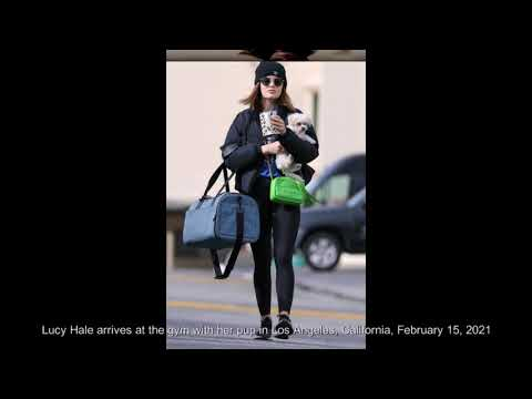 Lucy Hale arrives at the gym with her pup in Los Angeles, California, February 15, 2021